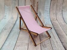 Miniature Deck Chair Pink & White Striped Candy Shabby Chic Cute Seaside Theme