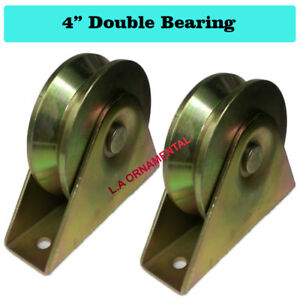 V Groove Wheel 4 Double Ball Bearing Heavy Duty Slide Driveway Gate Roller Pair