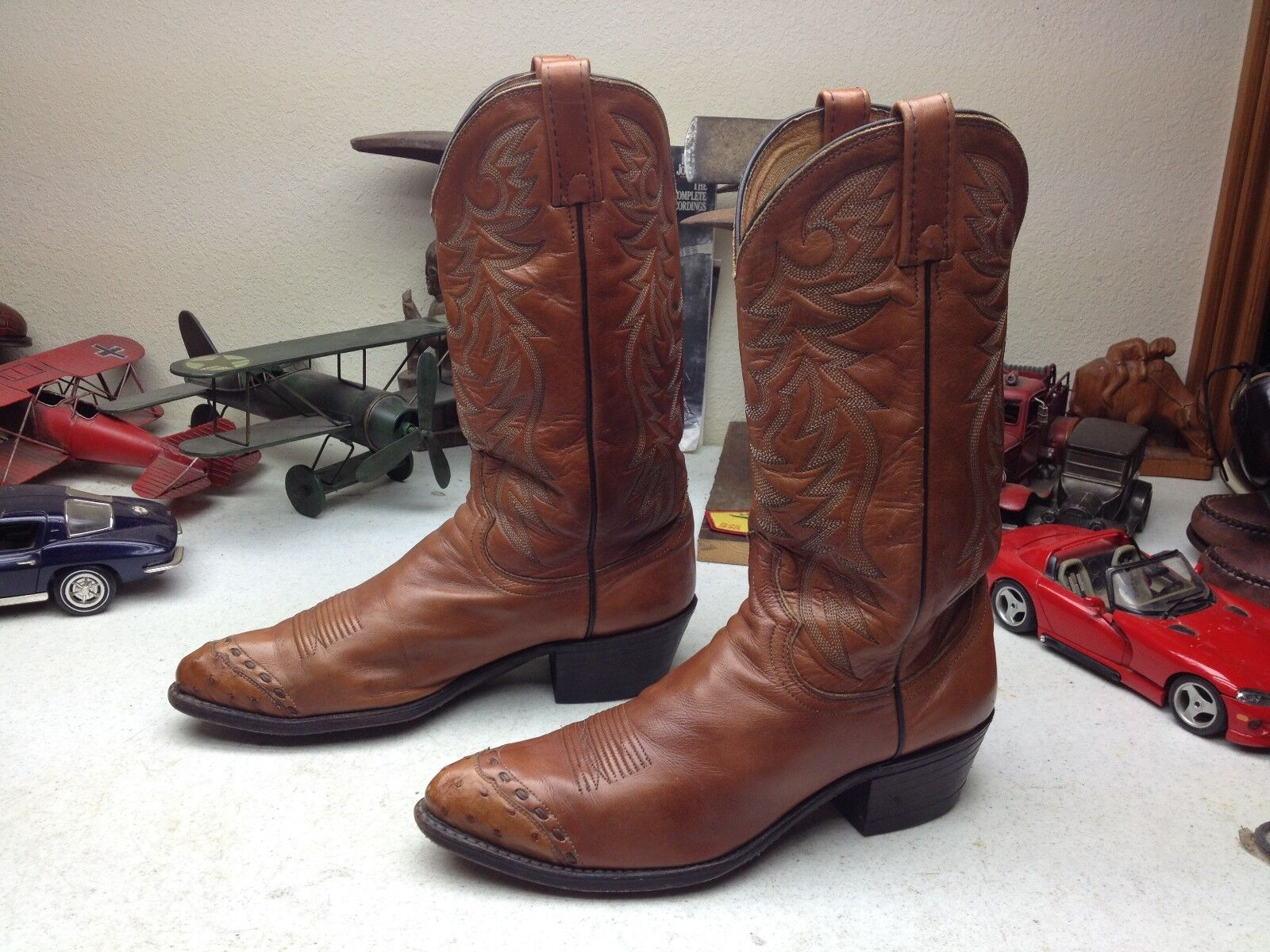 DISTRESSED DAN POST USA BROWN LEATHER OSTRICH TIP RANCH BOSS COWBOY BOOTS 9.5 D