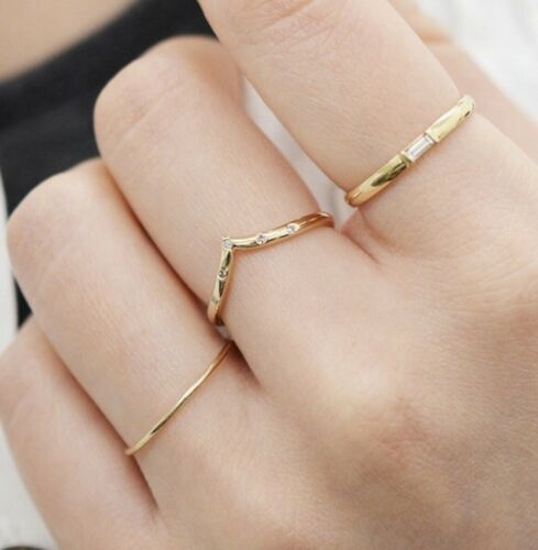 14K Solid Rose Gold Thin Band 1mm Plain Wedding Engagement Ring Dainty stackable