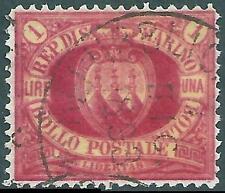 (u) San Marino 1892: STEMMA 1 LIRA Rossa [#20; Canc] €1.250 Rarità