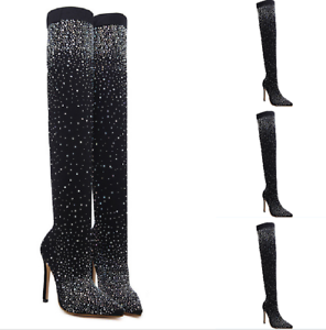 Women-039-s-Over-Knee-Thigh-Boots-Rhinestone-Pointy-Toe-Pull-On-Stiletto-Heel-Shoes
