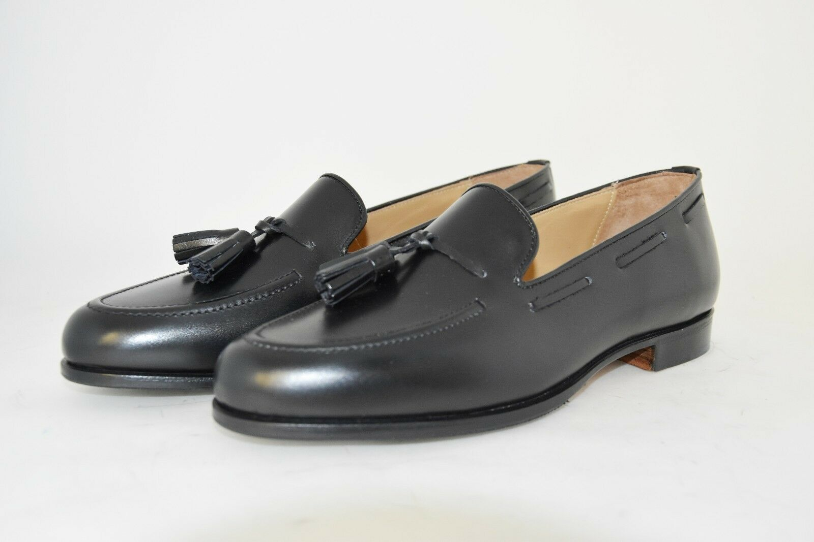 conveniente MAN-7½eu-8½usa-LOW VAMP TASSEL LOAFER-MOCASSINO-nero CALF-VITELLO-LEATHER SOLE SOLE SOLE  più sconto