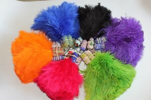 Two (2) NEW beaded handle ostrich feather keyring duster for gifts car office