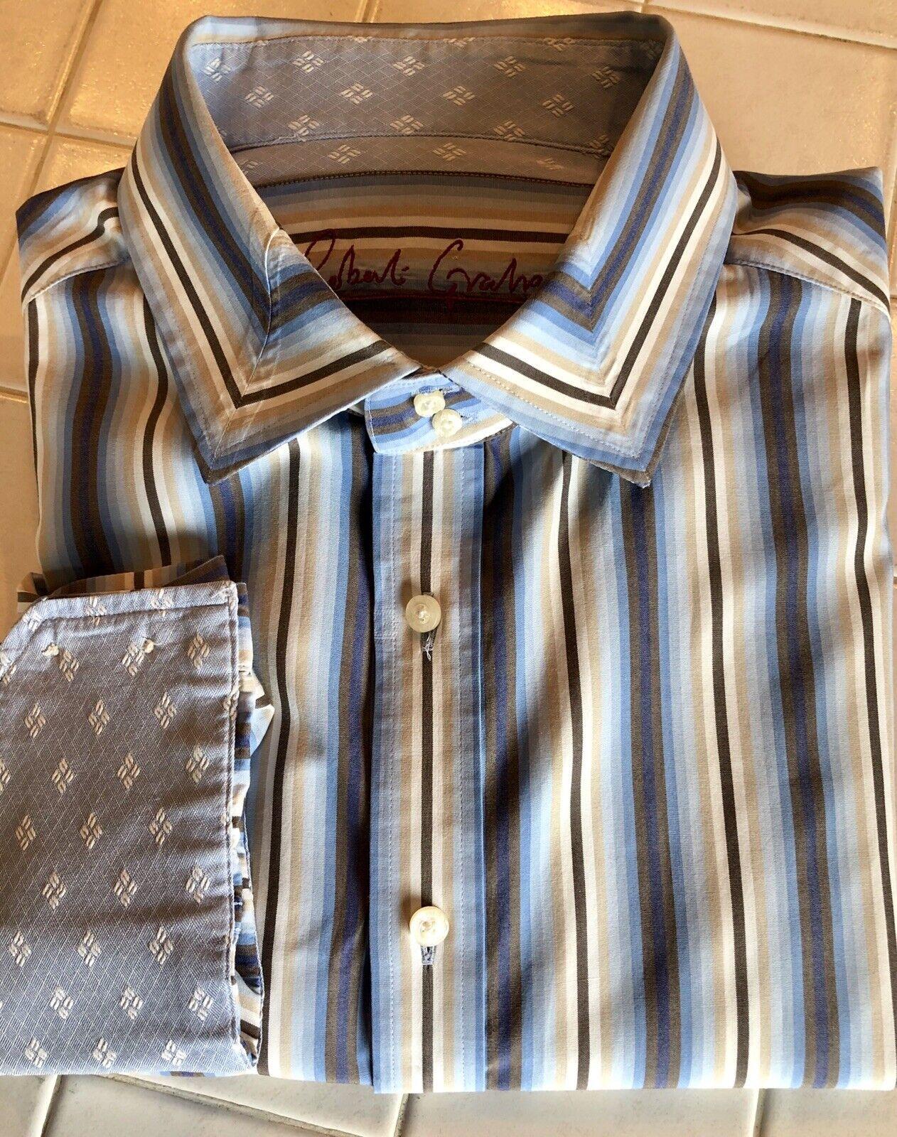 Robert Graham Men's Long sleeve 3XL Flip Cuff bluee Striped Shirt
