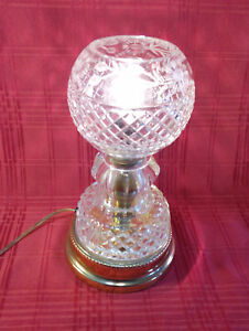 Details About Cut Glass Crystal Electric Boudoir Table Lamp Light Globe Shade 11 Tall Vintage