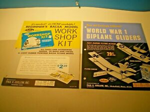 GUILLOW'S Balsa Models Original 1965 two page color dealer flyers L@@K!