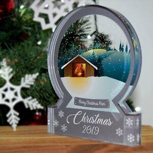 Christmas Scene.Details About Grey Nativity Christmas Scene Snow Globe Acrylic Themed Ornament Bespoke Gift