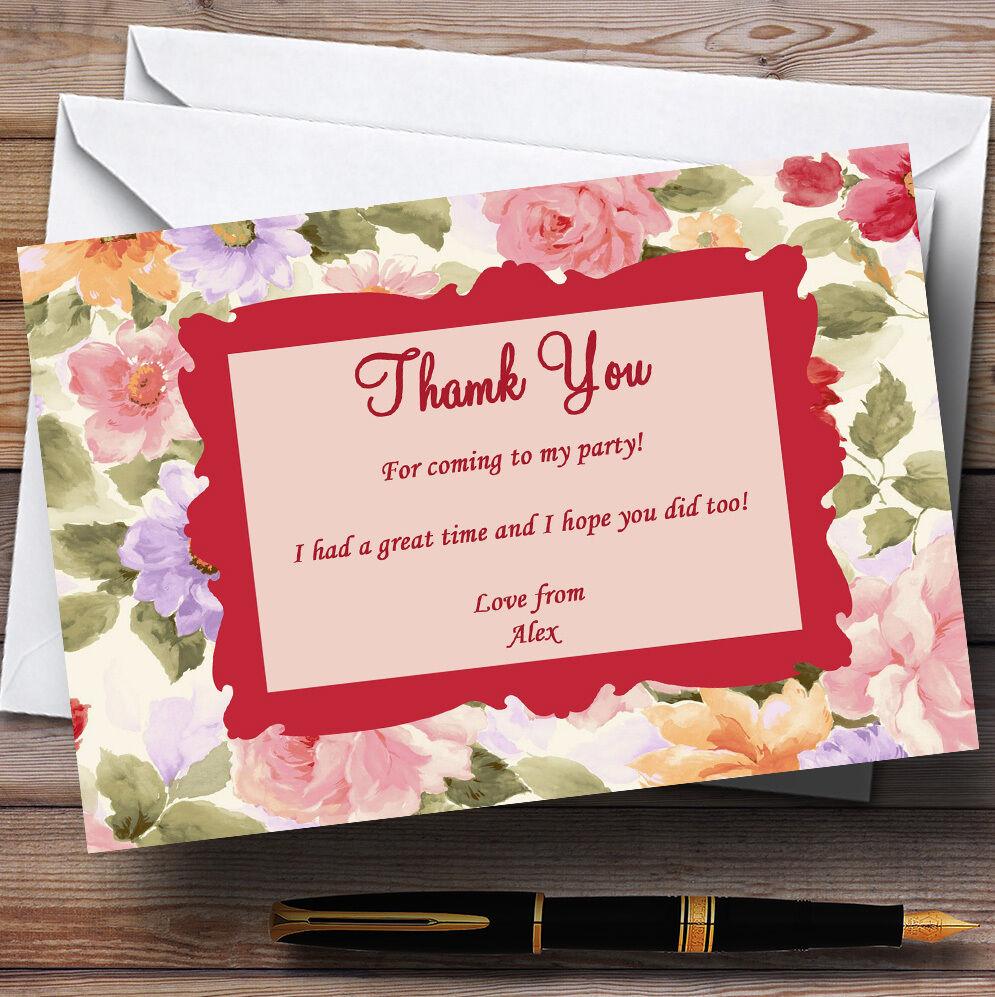 Vintage floral superbe de jardin de superbe thé Parti personnalisés vous remercier cartes 080ba8