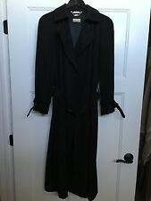 Vintage BLACK LADY'S TRENCH COAT 1950's-60's By Sanyo Size 10 Japan VERY NICE