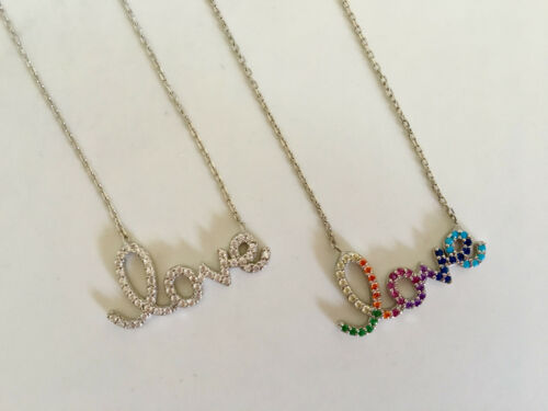 925 Sterling Silver Love Necklace Word Cubic Zirconia CZ Crystal Clear Rainbow
