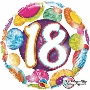 Image Is Loading 18th BIRTHDAY BALLOON 18 034 BIG DOTS Amp