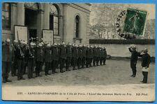 CPA: SAPEURS-POMPIERS de la Ville de Paris, l'Appel des hommes Morts au Feu