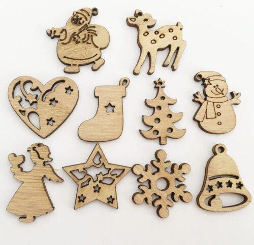 Craft Card Making 3CM BU1219 25//50 Christmas Wooden Shape Embellishments