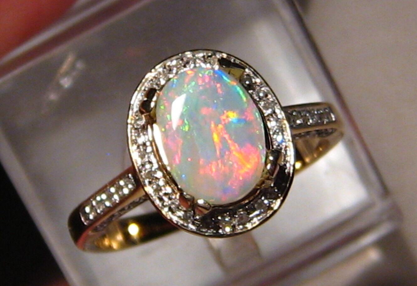 Gem Red and bluee Australian Opal & Diamond Ring 14k Yellow gold