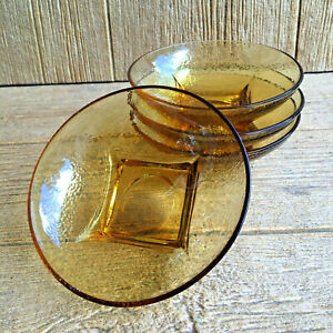 Hazel-Atlas-Hazelware-Pebbletone-Bowls-Honey-Colored-Amber-Glass-Vintage