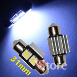 2-Ampoule-Navette-31mm-LED-2-SMD-5050-ANTI-ERREUR-CANBUS-Plafonnier-Plaque-12V