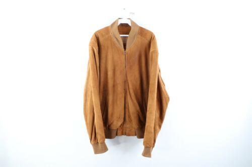 Vintage Coach Mens Large Suede Leather Full Zip Bo