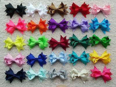 "25 PCS 3.5"" Baby Girl  kds Boutique Hair Bows Clip Grosgrain Ribbon Flower A"