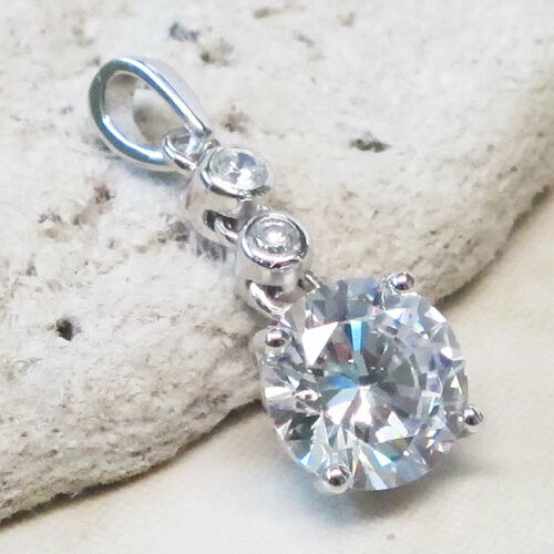 STUNNING 2 CT ROUND CUT CLEAR STONE 925 STERLING SILVER PENDANT