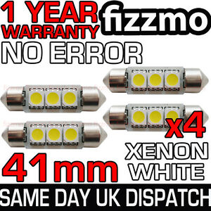 4x-41mm-3-SMD-LED-264-C5W-CANBUS-NO-ERROR-FREE-WHITE-INTERIOR-LIGHT-FESTOON-BULB