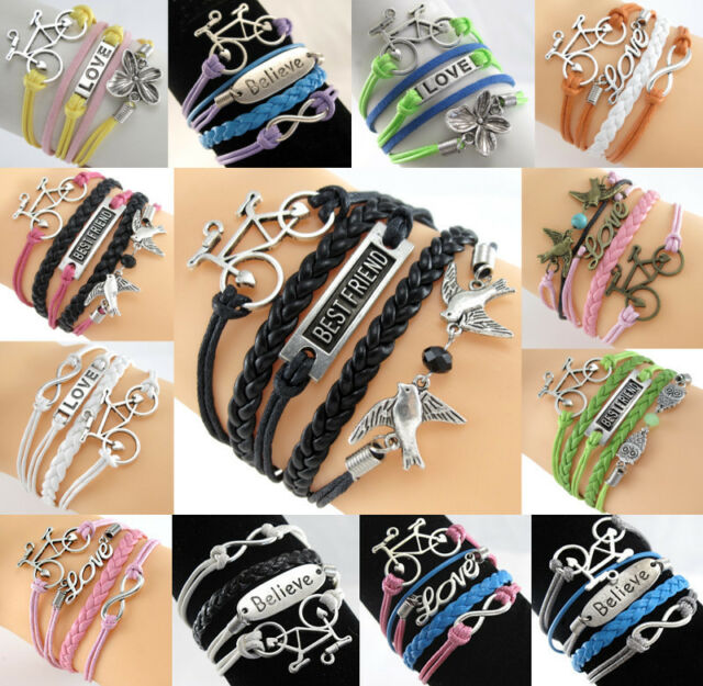 Infinity Best Friend Anchor Bicycle Charms Leather Charm Bracelets Jewelry dj683