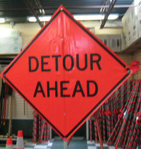 "Detour Ahead Sign Fluorescent Vinyl With Ribs 48""x48"" Roll Up Sign"