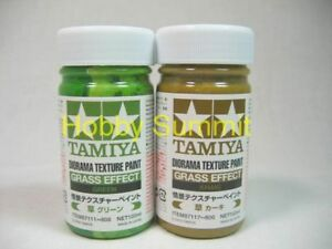 Tamiya-DIORAMA-TEXTURE-PAINT-Grass-Effect-Set-of-2-Khaki-amp-Gress-87111-87117
