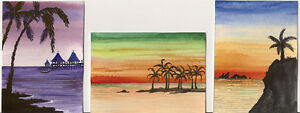 SET-OF-3-ACEO-PRINT-OF-PAINTING-RYTA-SEASCAPE-BEACH-PALM-TREE-WATERCOLOR-ART