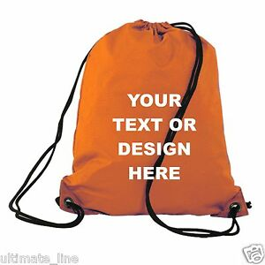Personalised Orange Drawstring Bag Sack Gym PE Swim School Print ...