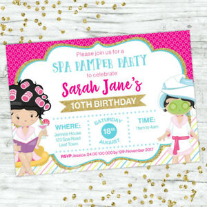 Details About PAMPER SPA PARTY BIRTHDAY INVITATIONS GIRLS INVITE SUPPLIES BEAUTY FACIAL