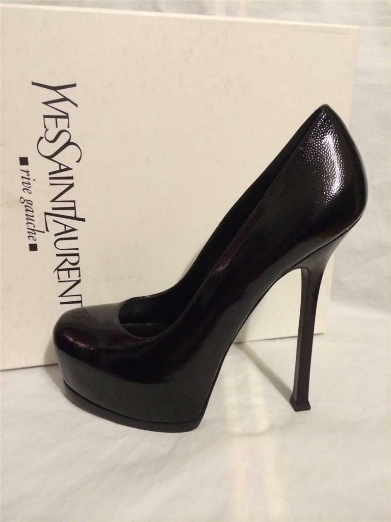 YSL Yves Saint Laurent Tribtoo Tribute Two Patent Platform Pump Shoes Heels $795