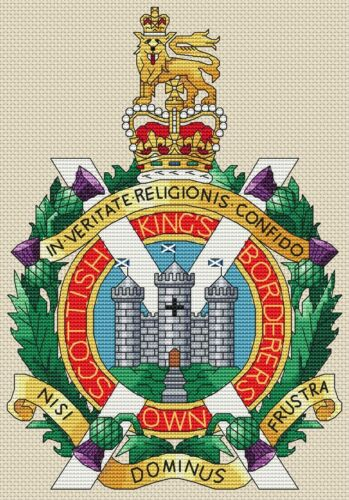 "King/'s Own Scottish borderers Cross Stitch design 7x10/"", 18x25cm, KIT o grafico"