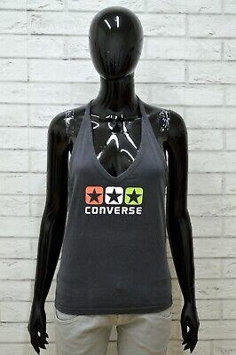 Converse Donna Maglia Taglia L Maglietta Polo Shirt Woman Cotone Canotta Top