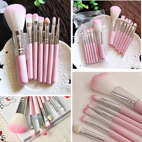 7Pcs Pro Pink Makeup Brush Set Eyeshadow Cosmetic Tools Eye Face Beauty Brushes