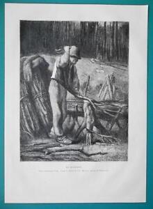 WOODCUTTER-Lumberjack-1876-Antique-Print