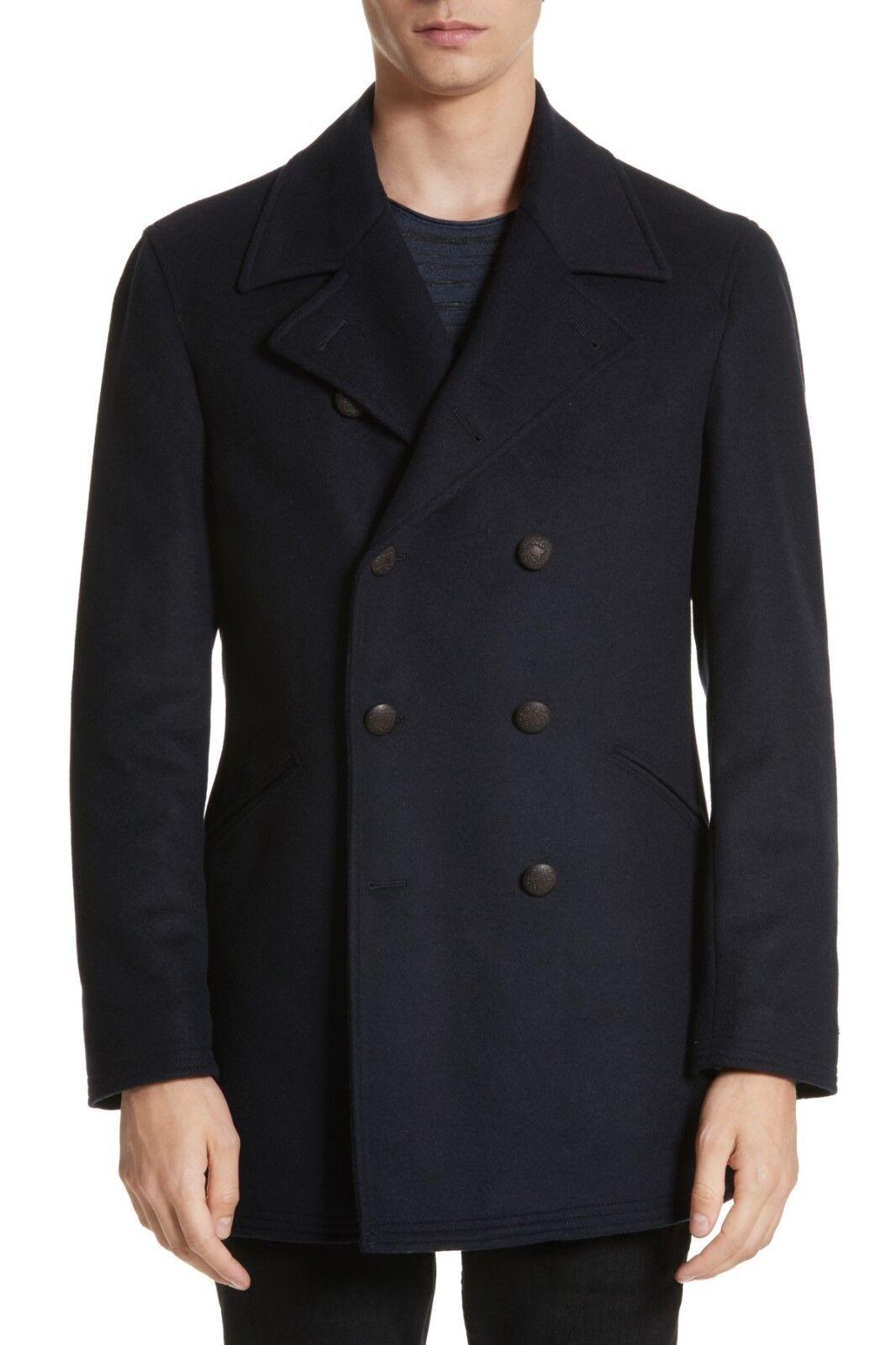 495 NEW John Varvatos Double-Breasted Wool blend Topcoat in Navy Größe 40REG