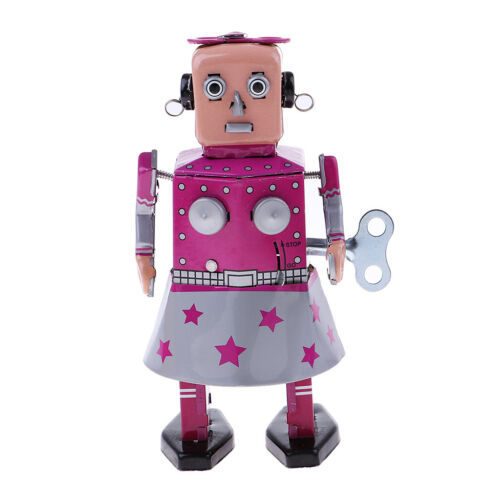 Antique Wind Up Tin Toy Clockwork Walking Robot in Dress for Home Decor Gift