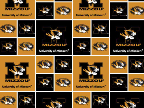 UNIVERSITY OF MISSOURI COTTON FABRIC-MIZZOU TIGERS-ALL PATTERNS