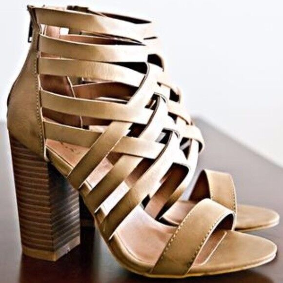 Ladies high top strapy heels sandal, Khaki color size 6,6.5,7,7.5,8,8.5,9,10 NIB