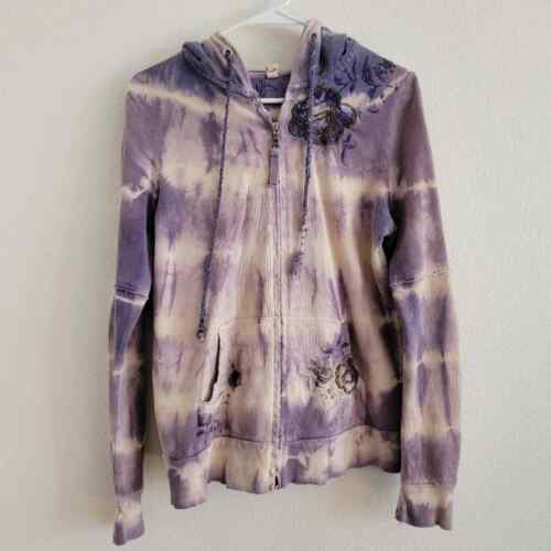 Penelope Violet Tie-Dye Embroidered Zip Up Sweater - image 1