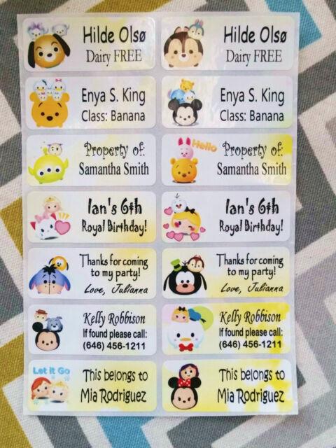 40 TSUM TSUM Custom Waterproof Name Labels-SCHOOL,DAYCARE (Buy  5 get 1 FREE)