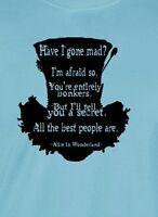 Mad Hatter Black Ink T-shirt Alice Wonderland Depp Burton Unisex Mens Ladies Tee