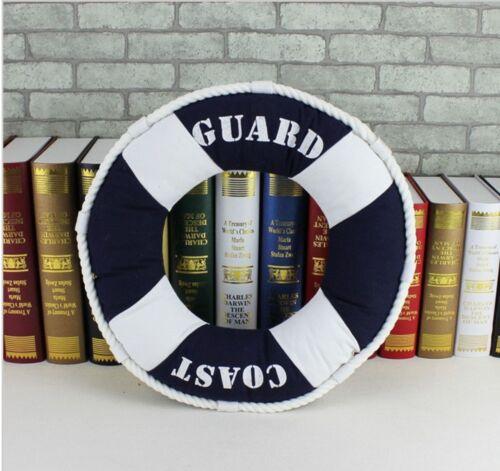 Nautical Rustic Modern Cushion Round Throw Pillow Navy Beach Fish Anchor Buoy