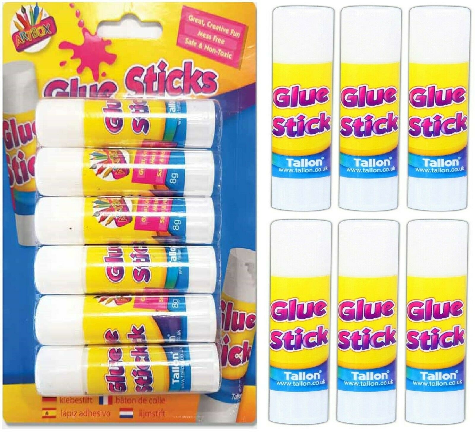 6 x TWIST UP GLUE STICKS Scrapbook Paper Card Photo Fabric Craft NON TOXIC Kids