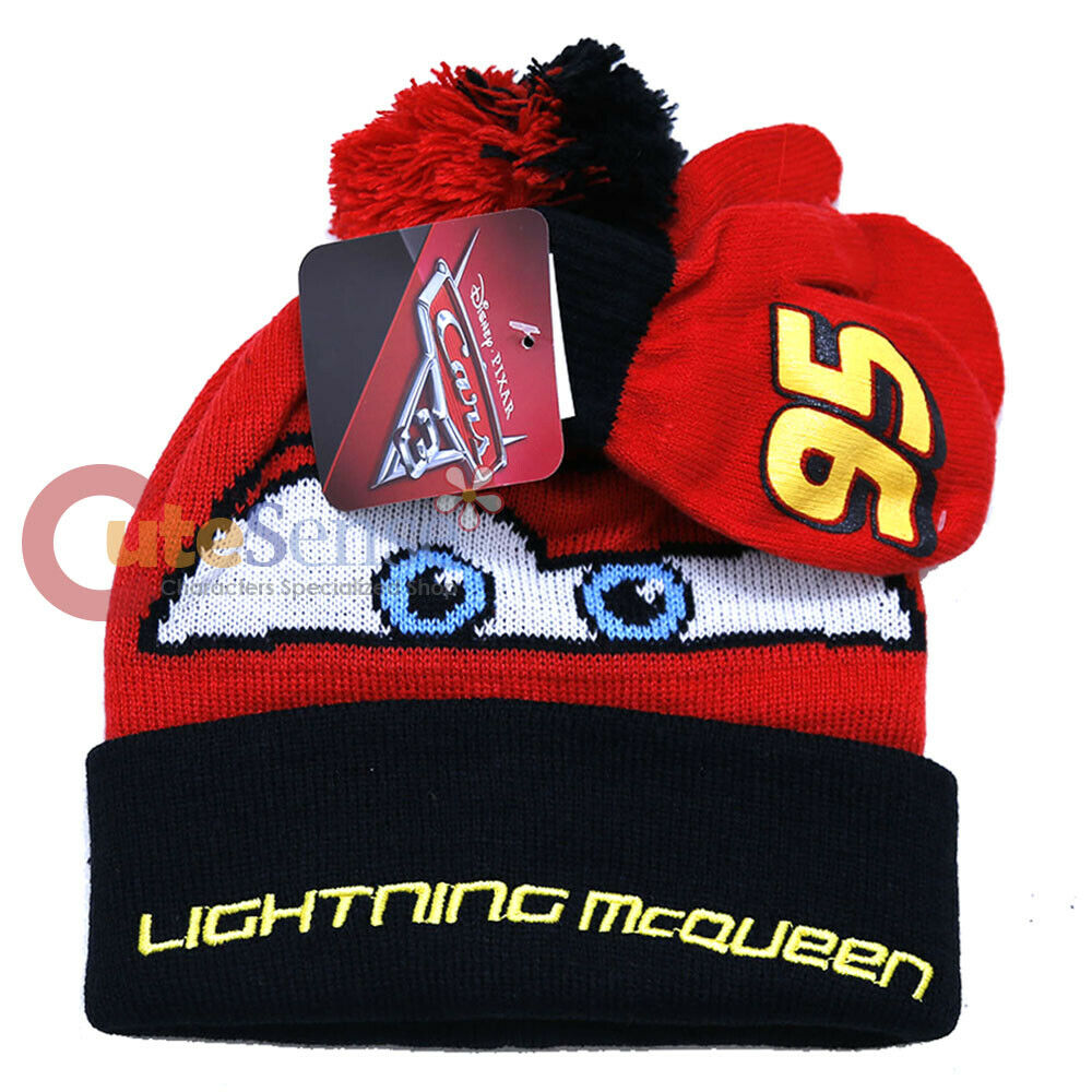 Disney Cars Lightning McQueen Acrylic Winter Hat Scarf and Gloves Set