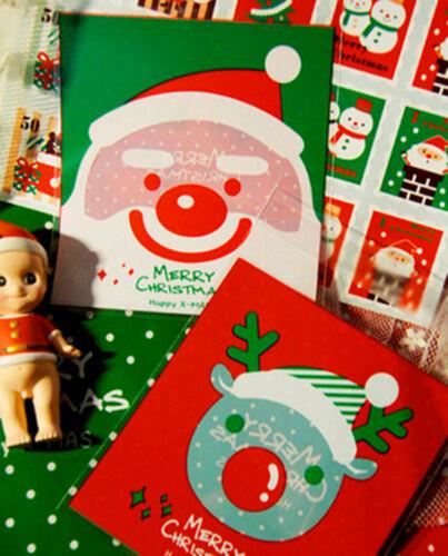 Christmas Santa /& Reindeer Party Favors Gift Cookies Self-Adhesive Plastic Bags