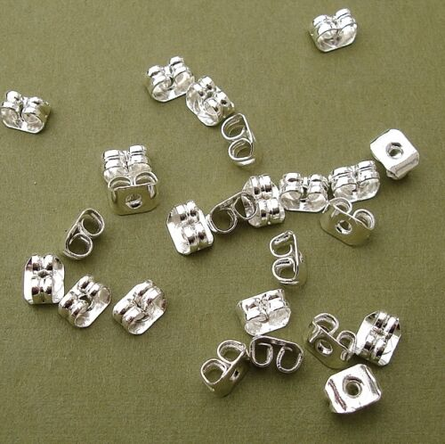 Butterfly Style Earstud Back Stoppers Sterling Silver Plated-100pcs.