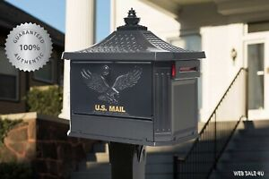 Large Locking Post Mount Mailbox Black Heavy Duty Mail Box With Post Aluminum Us Ebay