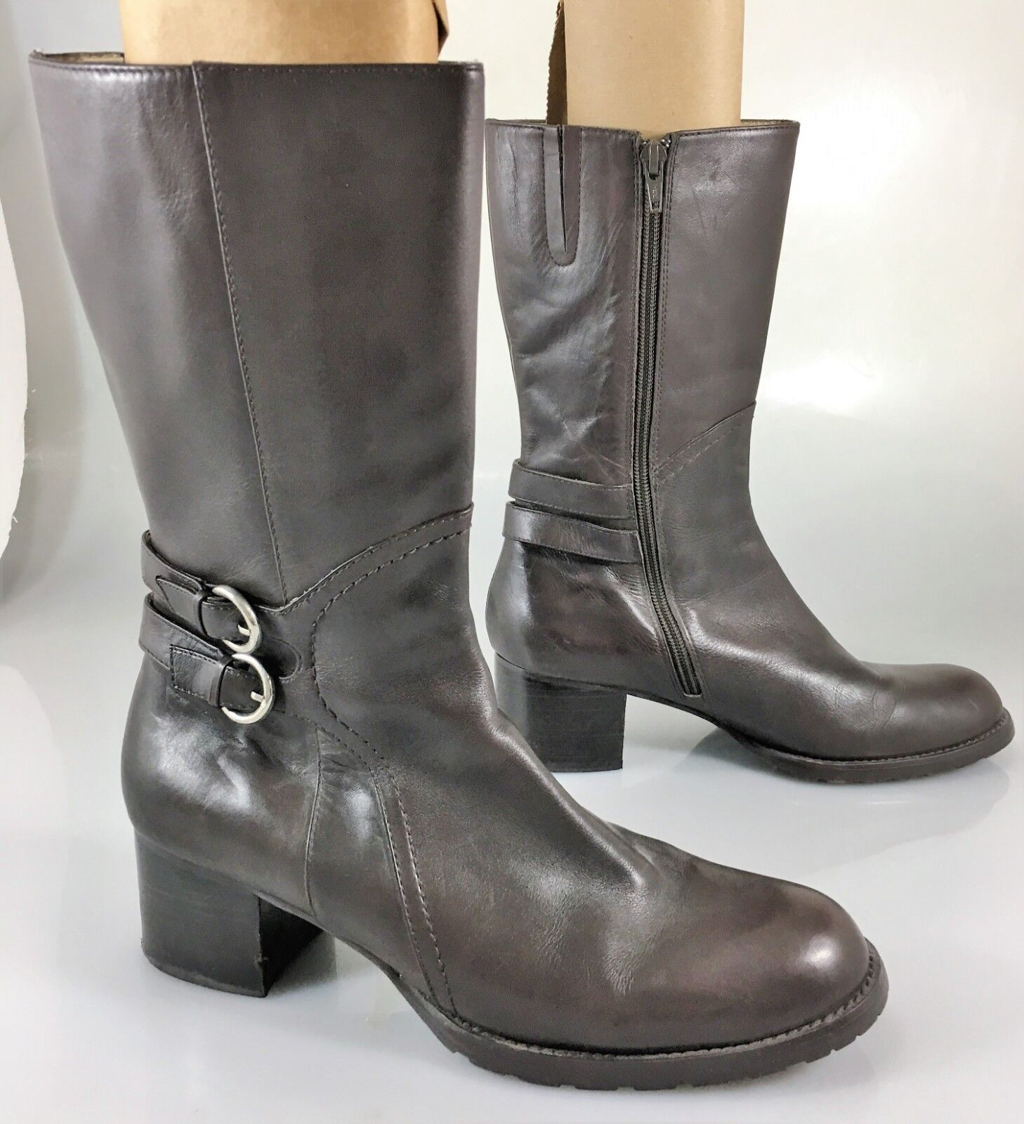 Charles by Charles David Womens 9B Brown Leather Mid-Calf 2  Heels Boots